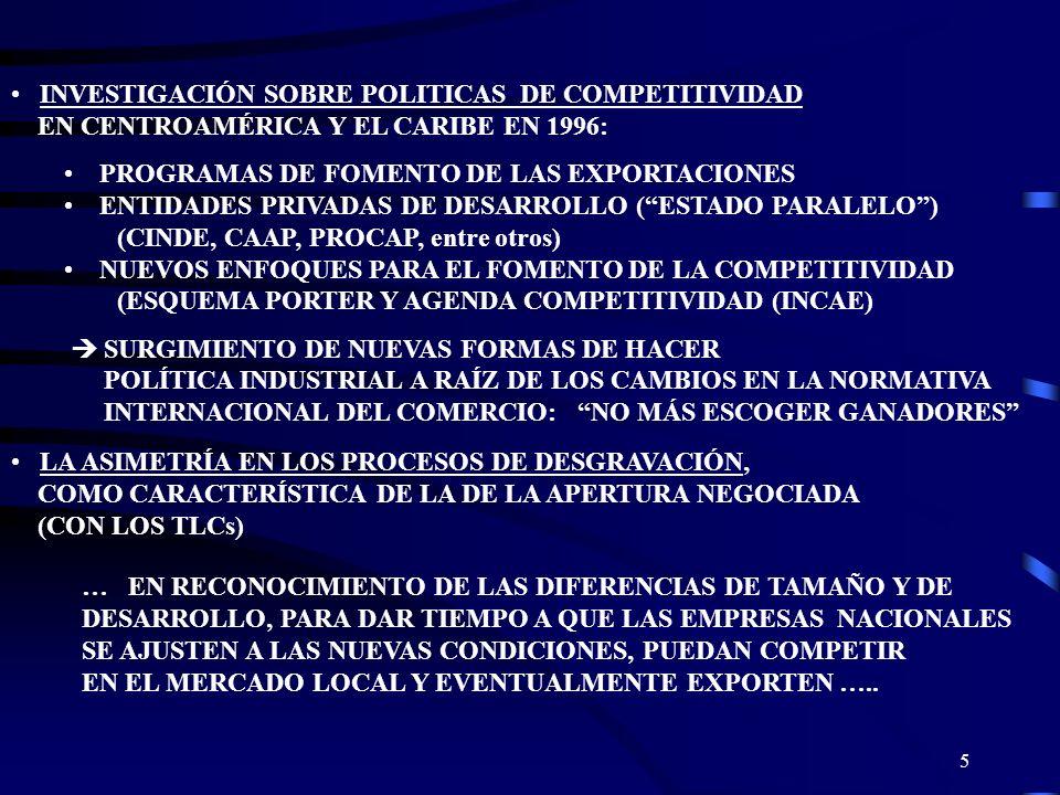 5 INVESTIGACIÓN SOBRE POLITICAS DE COMPETITIVIDAD EN CENTROAMÉRICA Y EL CARIBE EN 1996: PROGRAMAS DE FOMENTO DE LAS EXPORTACIONES ENTIDADES PRIVADAS D