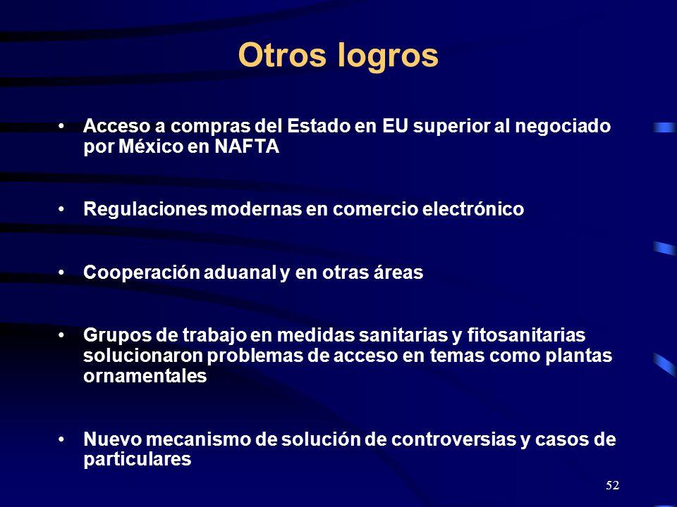 52 Otros logros Acceso a compras del Estado en EU superior al negociado por México en NAFTA Regulaciones modernas en comercio electrónico Cooperación