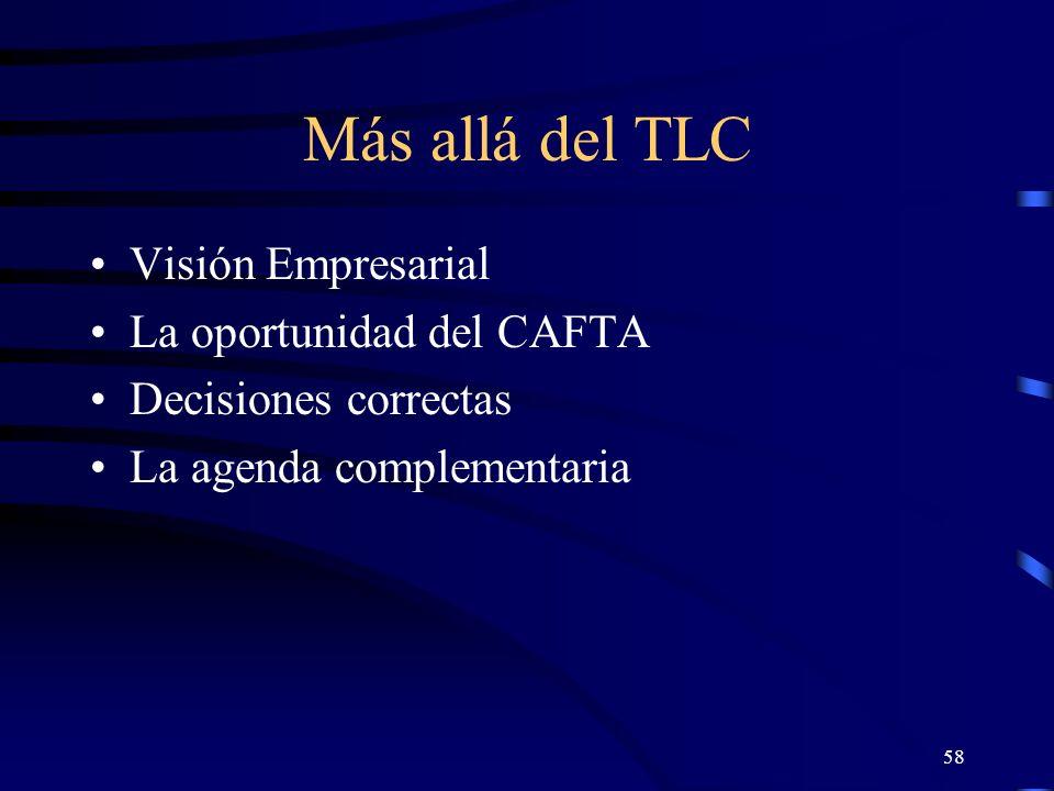 58 Más allá del TLC Visión Empresarial La oportunidad del CAFTA Decisiones correctas La agenda complementaria