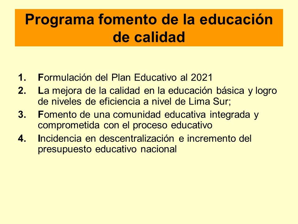 Programa fomento de la educación de calidad 1.Formulación del Plan Educativo al 2021 2.La mejora de la calidad en la educación básica y logro de nivel