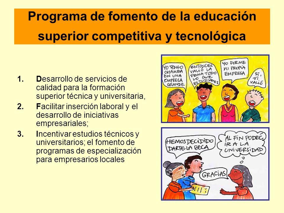 Programa de fomento de la educación superior competitiva y tecnológica 1.Desarrollo de servicios de calidad para la formación superior técnica y unive