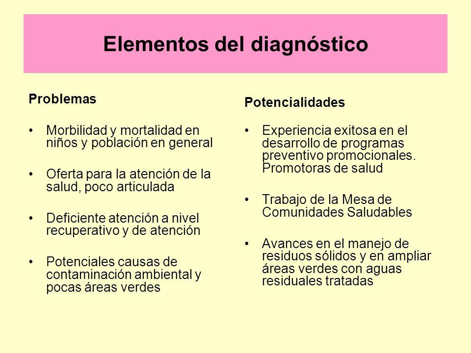 Elementos del diagnóstico Problemas Morbilidad y mortalidad en niños y población en general Oferta para la atención de la salud, poco articulada Defic