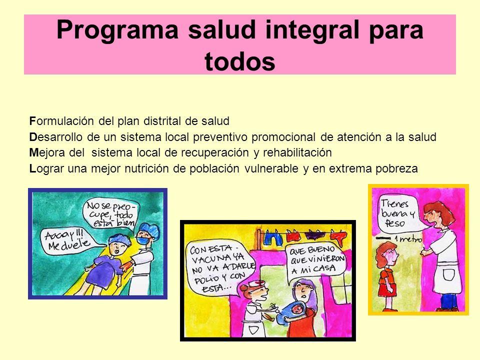 Programa salud integral para todos Formulación del plan distrital de salud Desarrollo de un sistema local preventivo promocional de atención a la salu