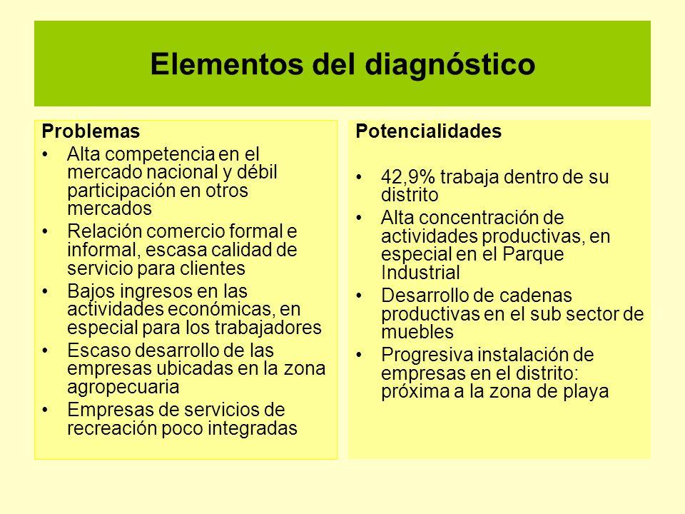 Elementos del diagnóstico Problemas Alta competencia en el mercado nacional y débil participación en otros mercados Relación comercio formal e informa