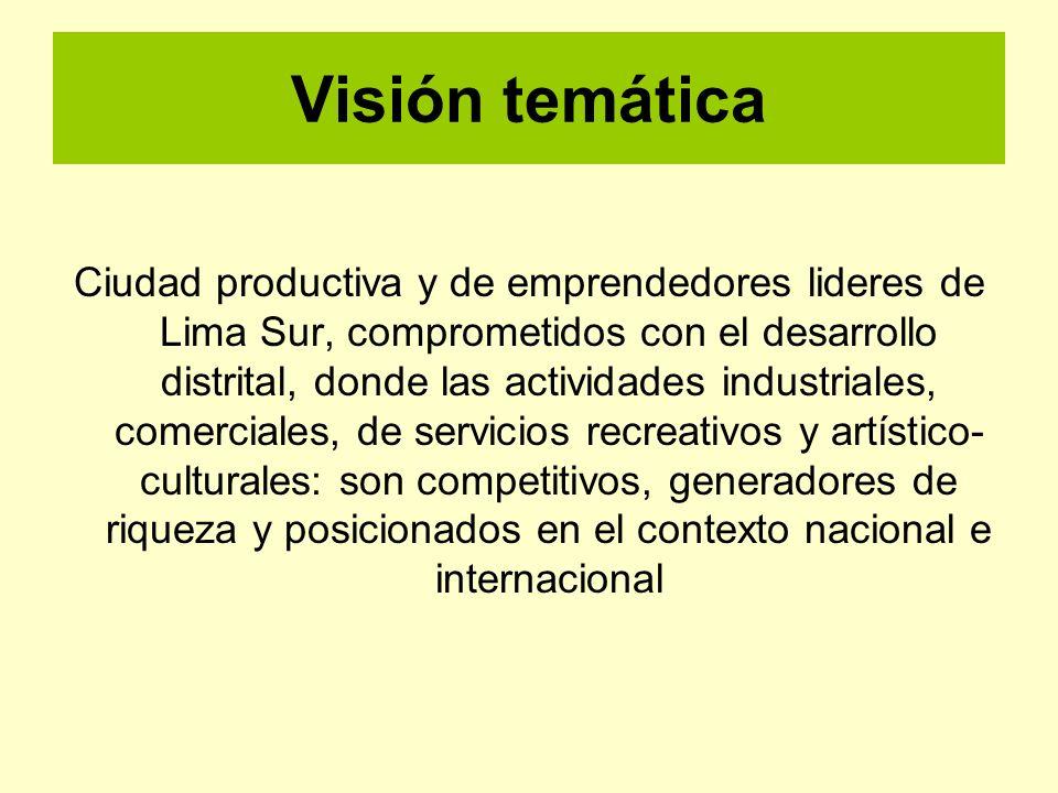 Visión temática Ciudad productiva y de emprendedores lideres de Lima Sur, comprometidos con el desarrollo distrital, donde las actividades industriale