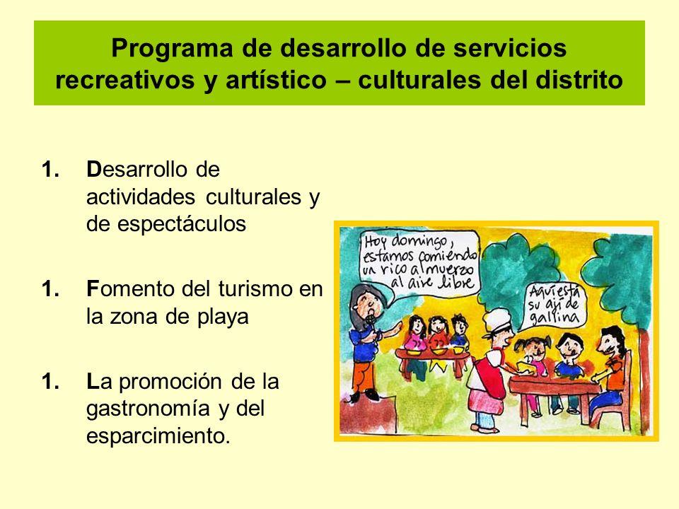 Programa de desarrollo de servicios recreativos y artístico – culturales del distrito 1.Desarrollo de actividades culturales y de espectáculos 1.Fomen