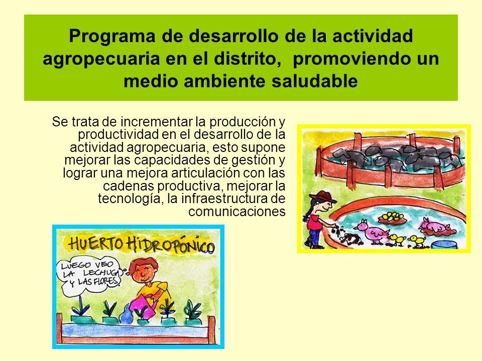 Programa de desarrollo de la actividad agropecuaria en el distrito, promoviendo un medio ambiente saludable Se trata de incrementar la producción y pr