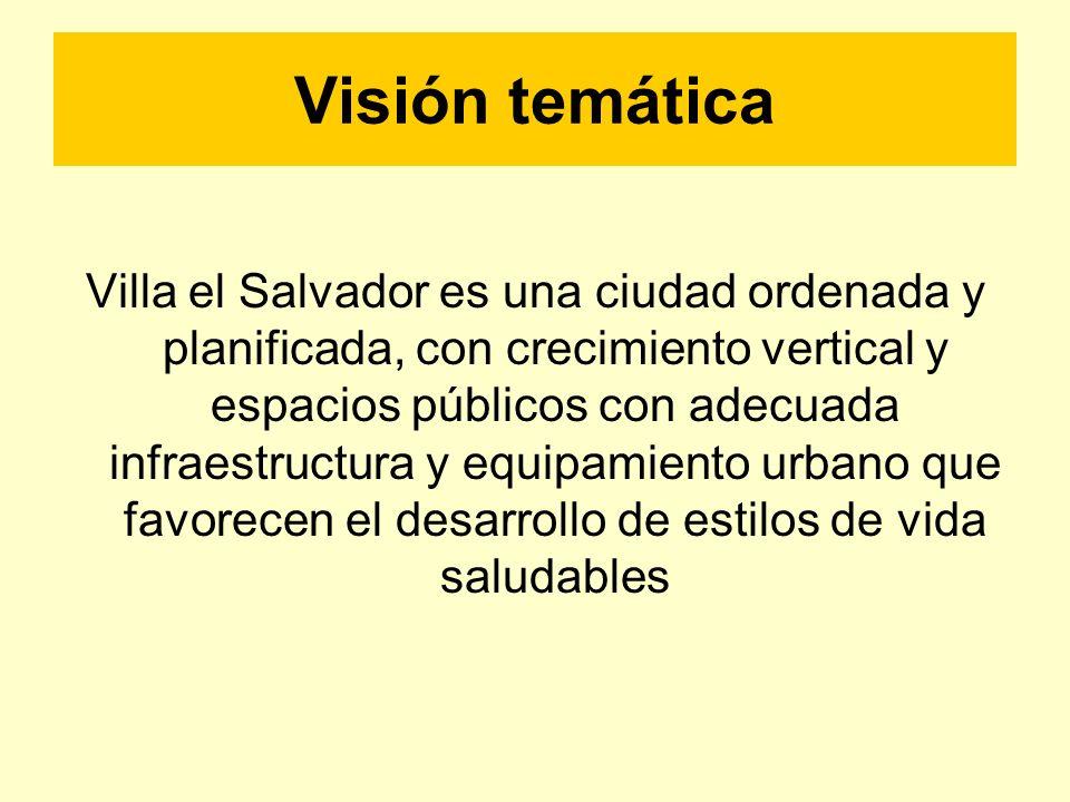 Visión temática Villa el Salvador es una ciudad ordenada y planificada, con crecimiento vertical y espacios públicos con adecuada infraestructura y eq
