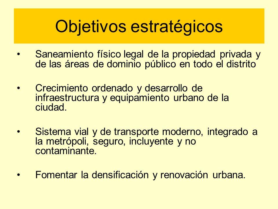 Objetivos estratégicos Saneamiento físico legal de la propiedad privada y de las áreas de dominio público en todo el distrito Crecimiento ordenado y d