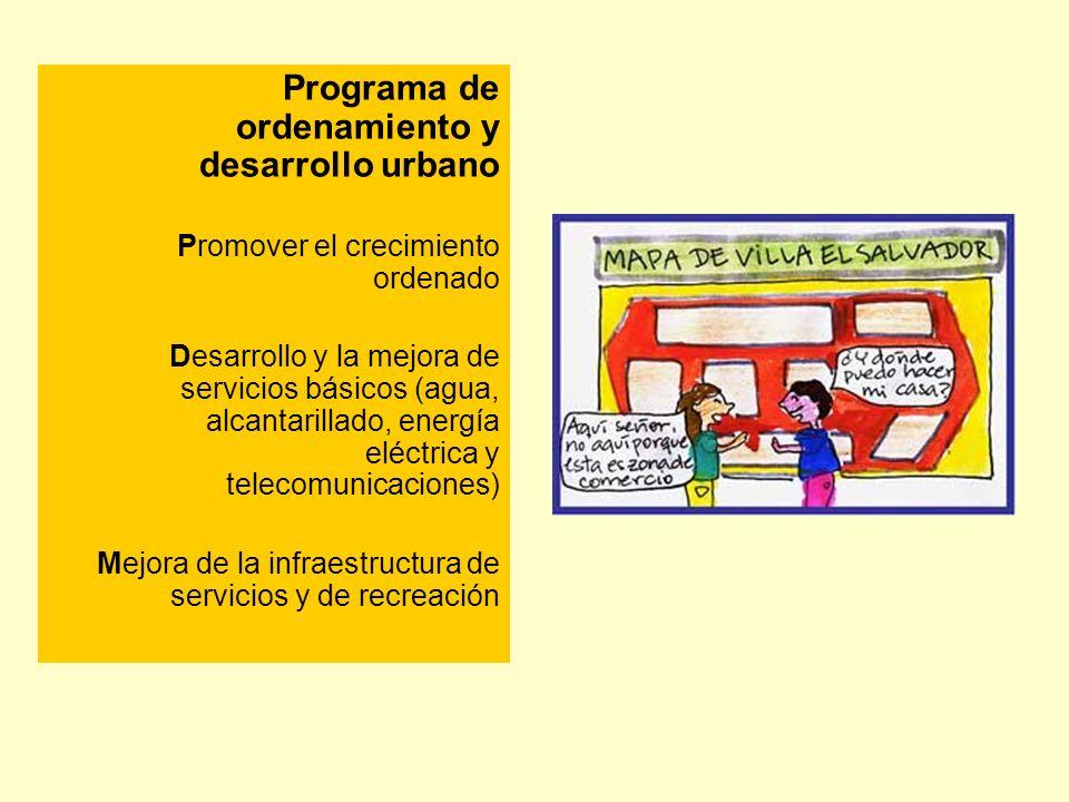 Programa de ordenamiento y desarrollo urbano Promover el crecimiento ordenado Desarrollo y la mejora de servicios básicos (agua, alcantarillado, energ