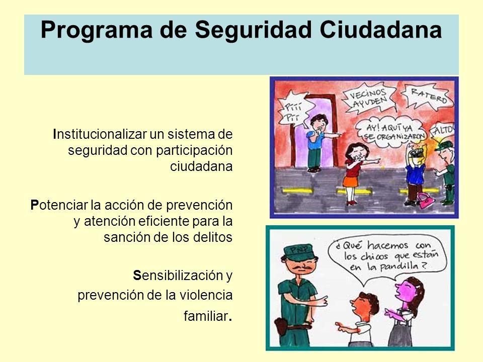 Programa de Seguridad Ciudadana Institucionalizar un sistema de seguridad con participación ciudadana Potenciar la acción de prevención y atención efi