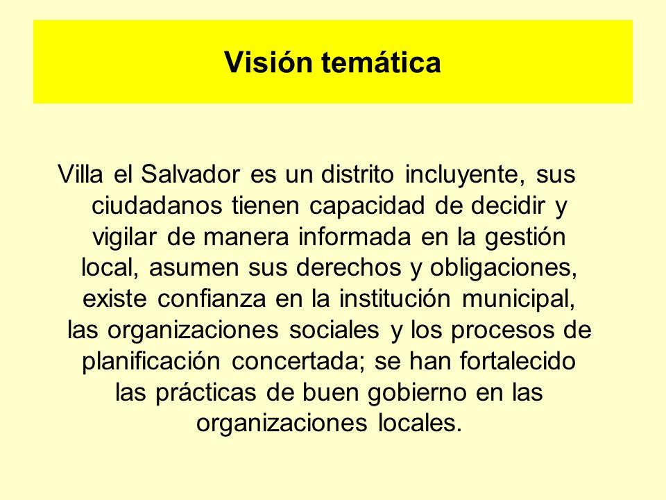 Visión temática Villa el Salvador es un distrito incluyente, sus ciudadanos tienen capacidad de decidir y vigilar de manera informada en la gestión lo