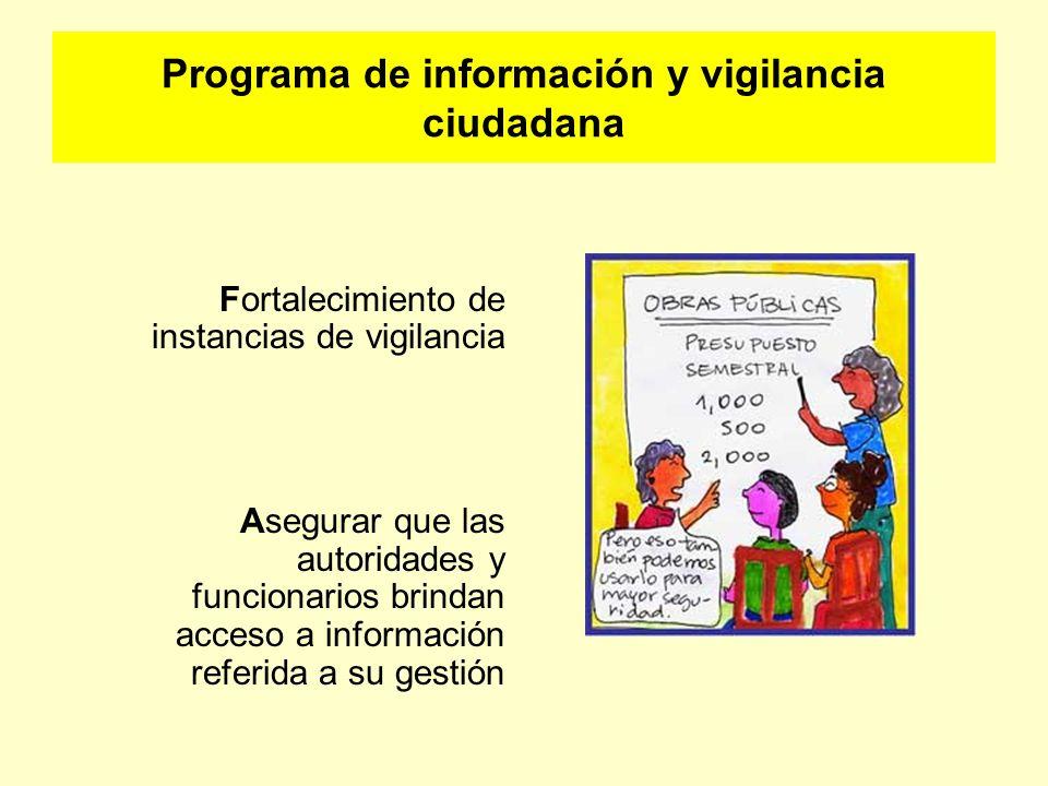 Programa de información y vigilancia ciudadana Fortalecimiento de instancias de vigilancia Asegurar que las autoridades y funcionarios brindan acceso