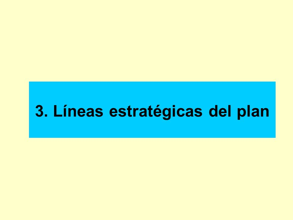 3. Líneas estratégicas del plan