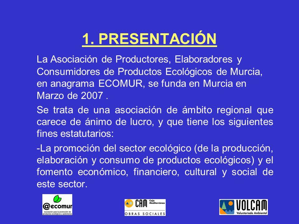 1. PRESENTACIÓN La Asociación de Productores, Elaboradores y Consumidores de Productos Ecológicos de Murcia, en anagrama ECOMUR, se funda en Murcia en