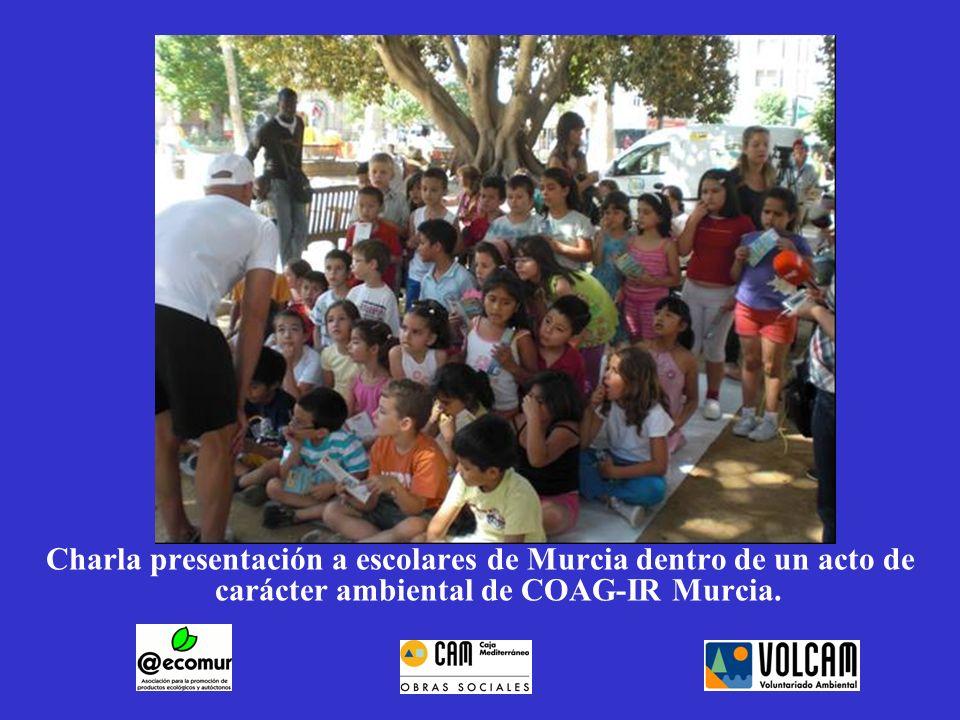 Charla presentación a escolares de Murcia dentro de un acto de carácter ambiental de COAG-IR Murcia.