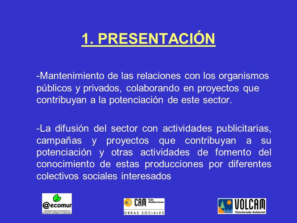 1. PRESENTACIÓN -Mantenimiento de las relaciones con los organismos públicos y privados, colaborando en proyectos que contribuyan a la potenciación de