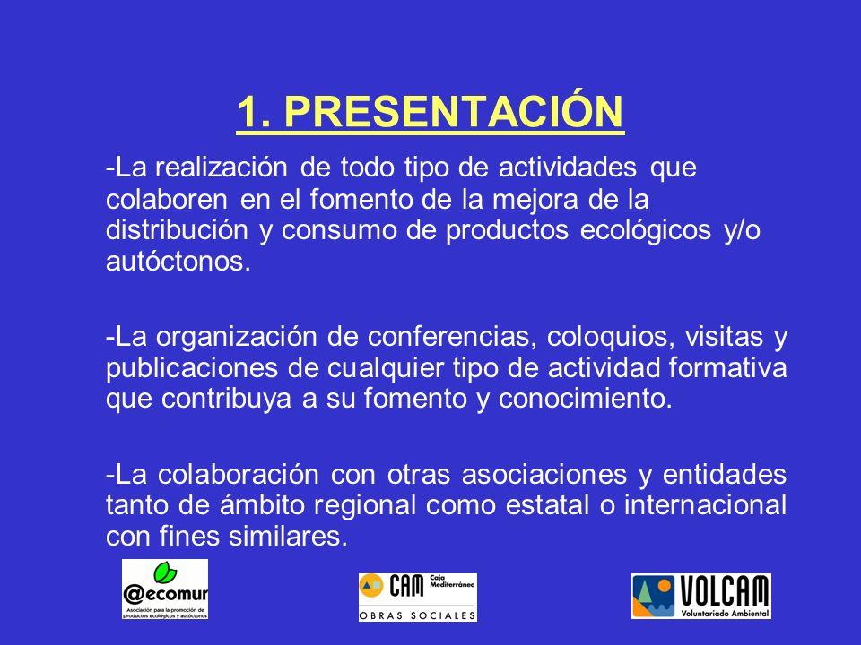 1. PRESENTACIÓN -La realización de todo tipo de actividades que colaboren en el fomento de la mejora de la distribución y consumo de productos ecológi
