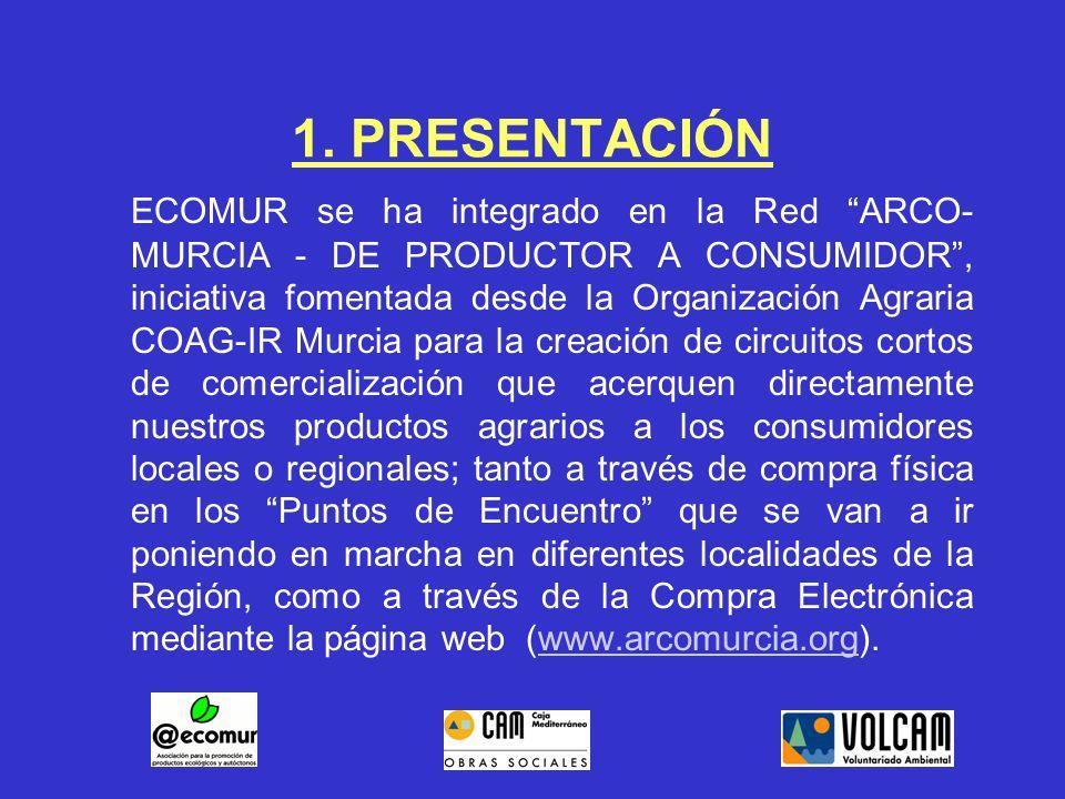 1. PRESENTACIÓN ECOMUR se ha integrado en la Red ARCO- MURCIA - DE PRODUCTOR A CONSUMIDOR, iniciativa fomentada desde la Organización Agraria COAG-IR