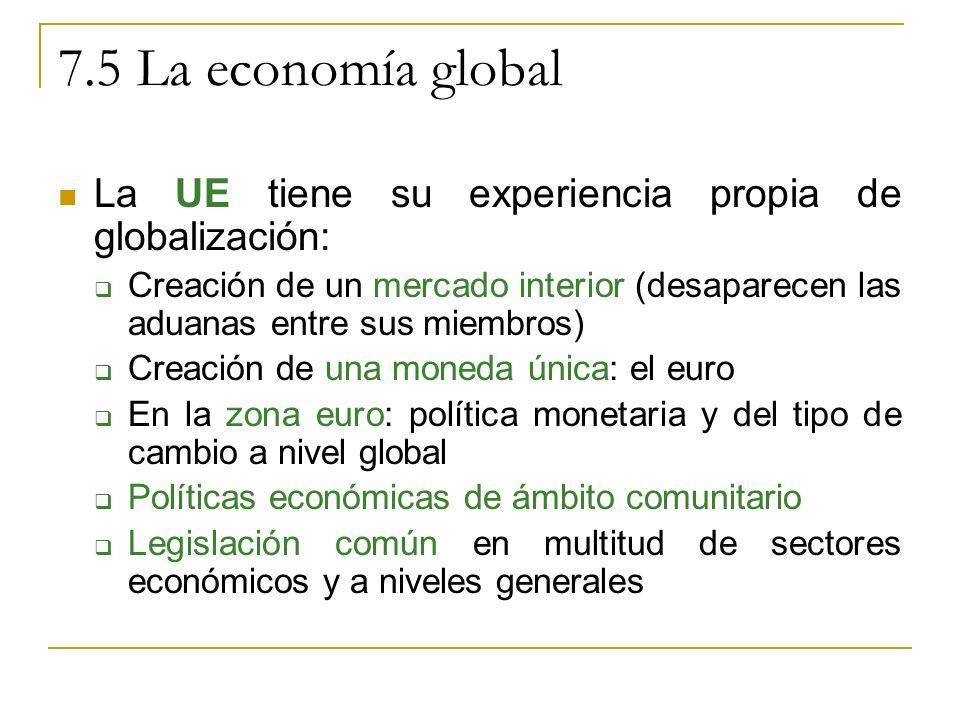 7.5 La economía global La UE tiene su experiencia propia de globalización: Creación de un mercado interior (desaparecen las aduanas entre sus miembros) Creación de una moneda única: el euro En la zona euro: política monetaria y del tipo de cambio a nivel global Políticas económicas de ámbito comunitario Legislación común en multitud de sectores económicos y a niveles generales