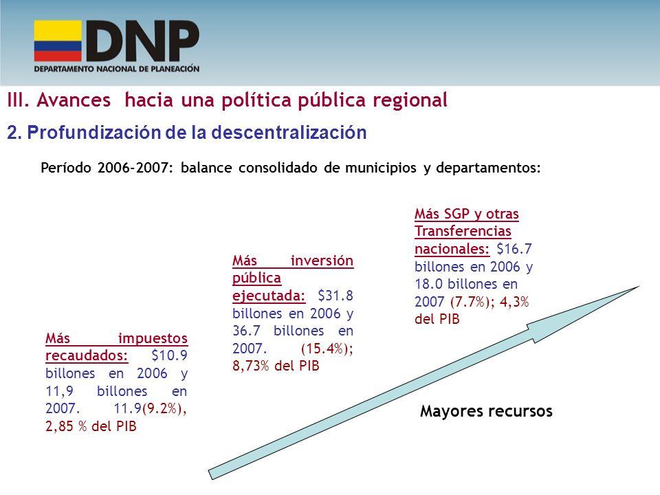 Período 2006-2007: balance consolidado de municipios y departamentos: Más impuestos recaudados: $10.9 billones en 2006 y 11,9 billones en 2007. 11.9(9