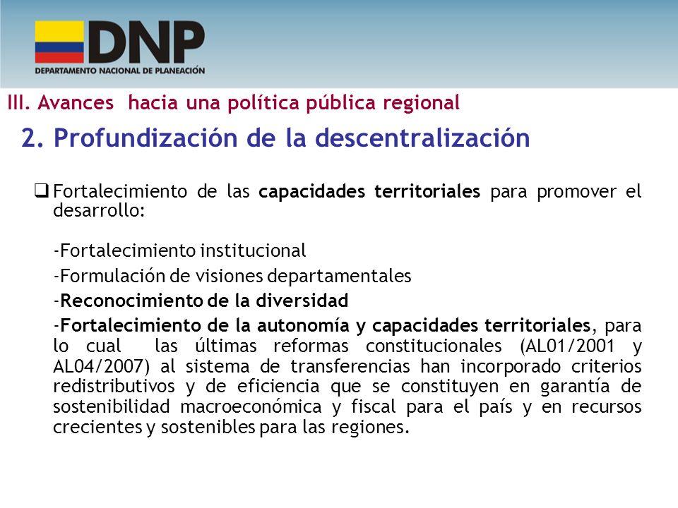 Fortalecimiento de las capacidades territoriales para promover el desarrollo: -Fortalecimiento institucional -Formulación de visiones departamentales