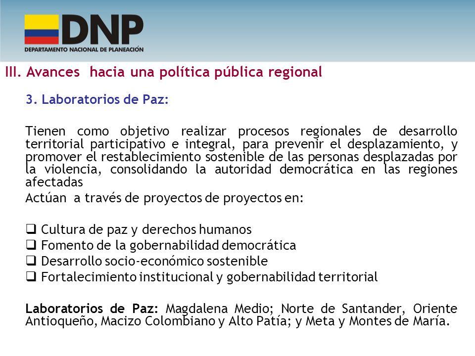 3. Laboratorios de Paz: Tienen como objetivo realizar procesos regionales de desarrollo territorial participativo e integral, para prevenir el desplaz