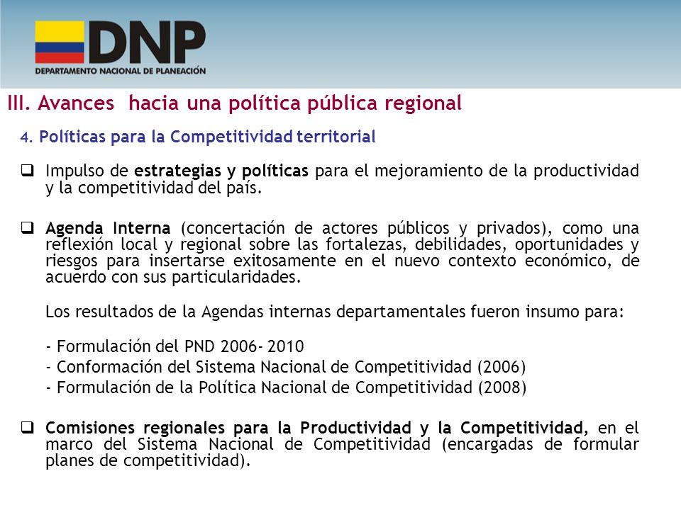 4. Políticas para la Competitividad territorial Impulso de estrategias y políticas para el mejoramiento de la productividad y la competitividad del pa