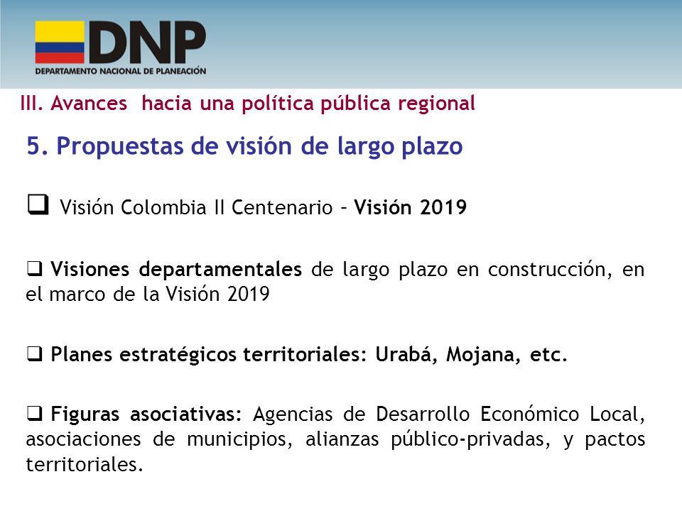 5. Propuestas de visión de largo plazo Visión Colombia II Centenario – Visión 2019 Visiones departamentales de largo plazo en construcción, en el marc