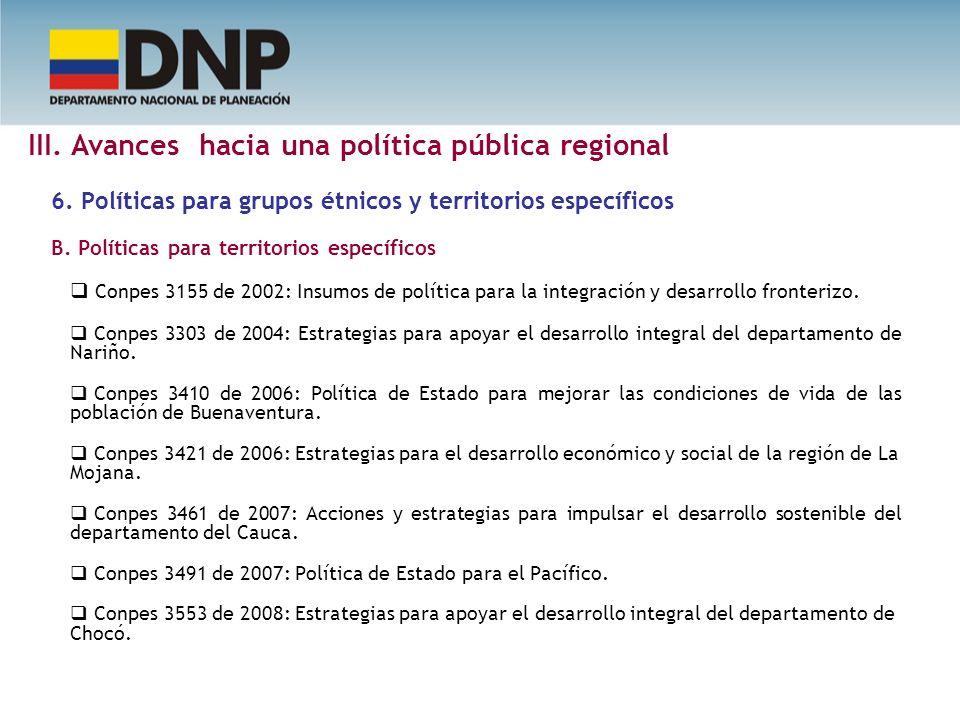 6. Políticas para grupos étnicos y territorios específicos B. Políticas para territorios específicos Conpes 3155 de 2002: Insumos de política para la