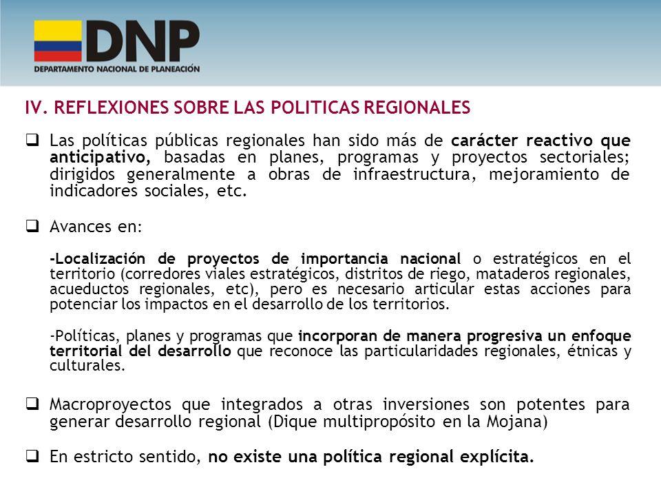 IV. REFLEXIONES SOBRE LAS POLITICAS REGIONALES Las políticas públicas regionales han sido más de carácter reactivo que anticipativo, basadas en planes