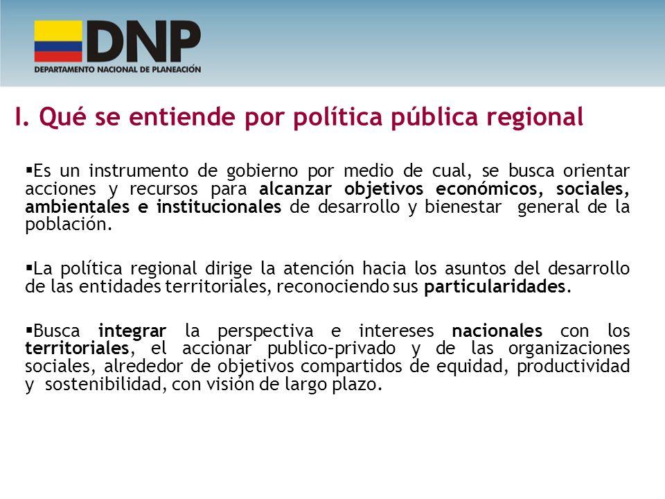 I. Qué se entiende por política pública regional Es un instrumento de gobierno por medio de cual, se busca orientar acciones y recursos para alcanzar