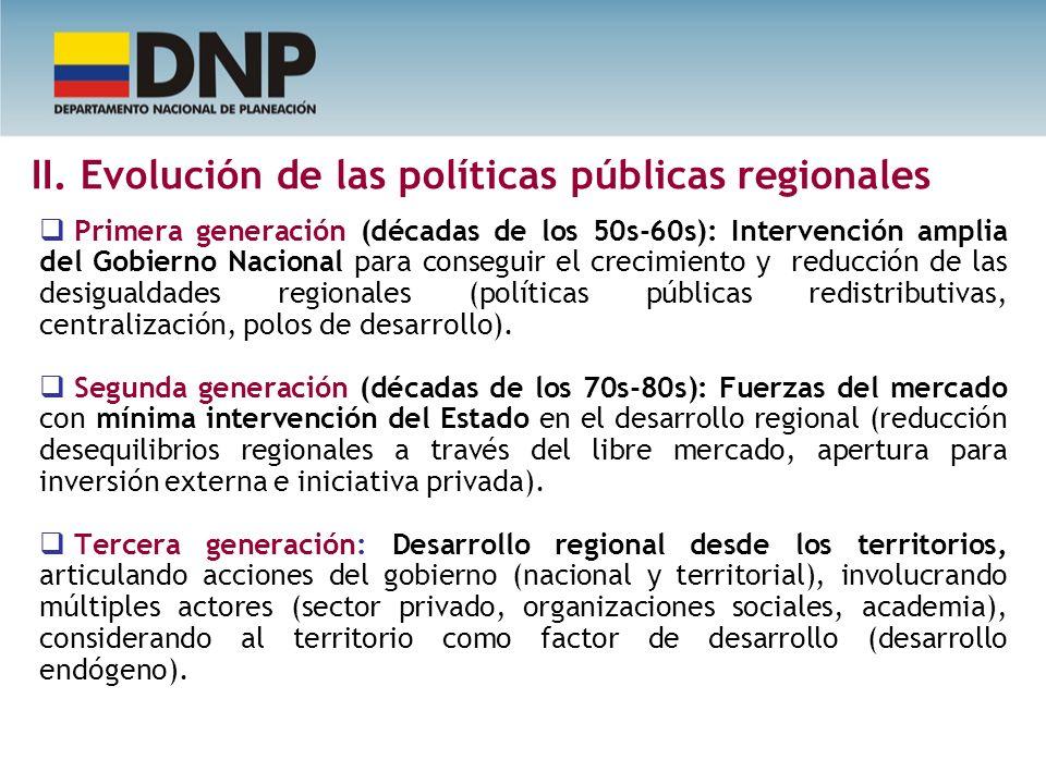 II. Evolución de las políticas públicas regionales Primera generación (décadas de los 50s-60s): Intervención amplia del Gobierno Nacional para consegu