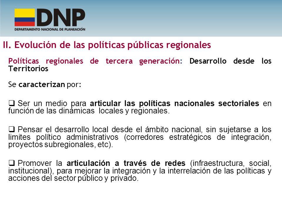 II. Evolución de las políticas públicas regionales Políticas regionales de tercera generación: Desarrollo desde los Territorios Se caracterizan por: S