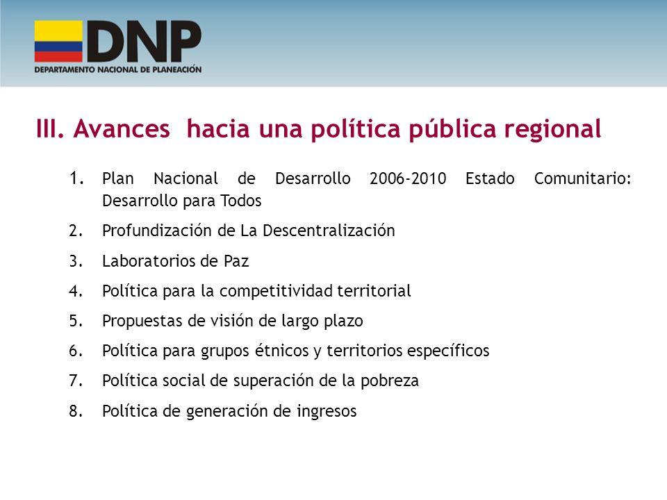 III. Avances hacia una política pública regional 1. Plan Nacional de Desarrollo 2006-2010 Estado Comunitario: Desarrollo para Todos 2. Profundización