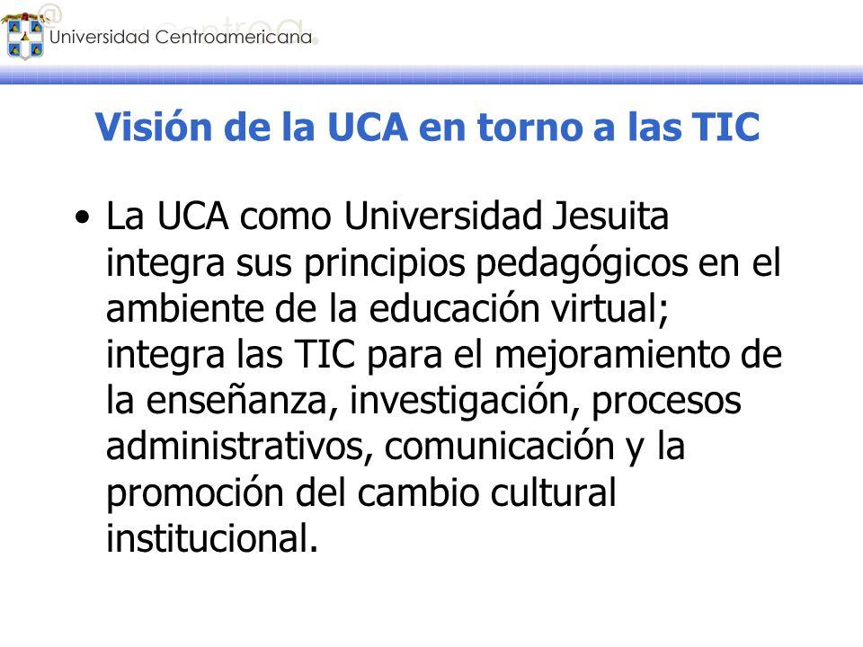Visión de la UCA en torno a las TIC La UCA como Universidad Jesuita integra sus principios pedagógicos en el ambiente de la educación virtual; integra