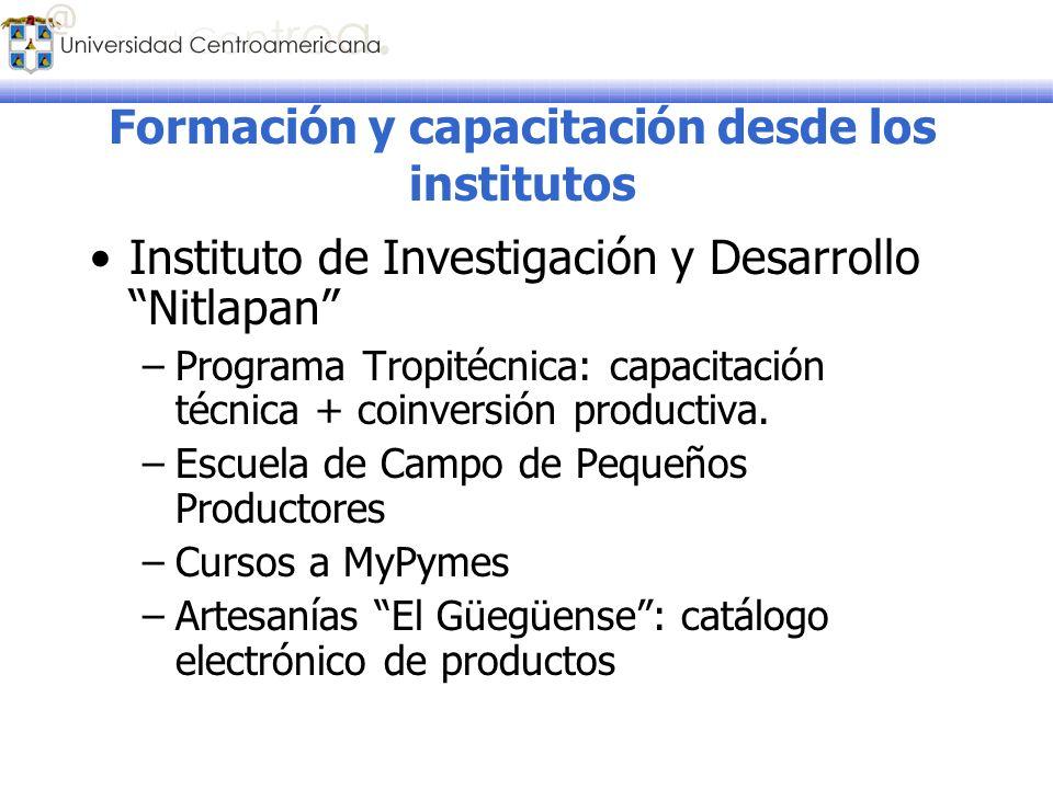 Formación y capacitación desde los institutos Instituto de Investigación y Desarrollo Nitlapan –Programa Tropitécnica: capacitación técnica + coinvers