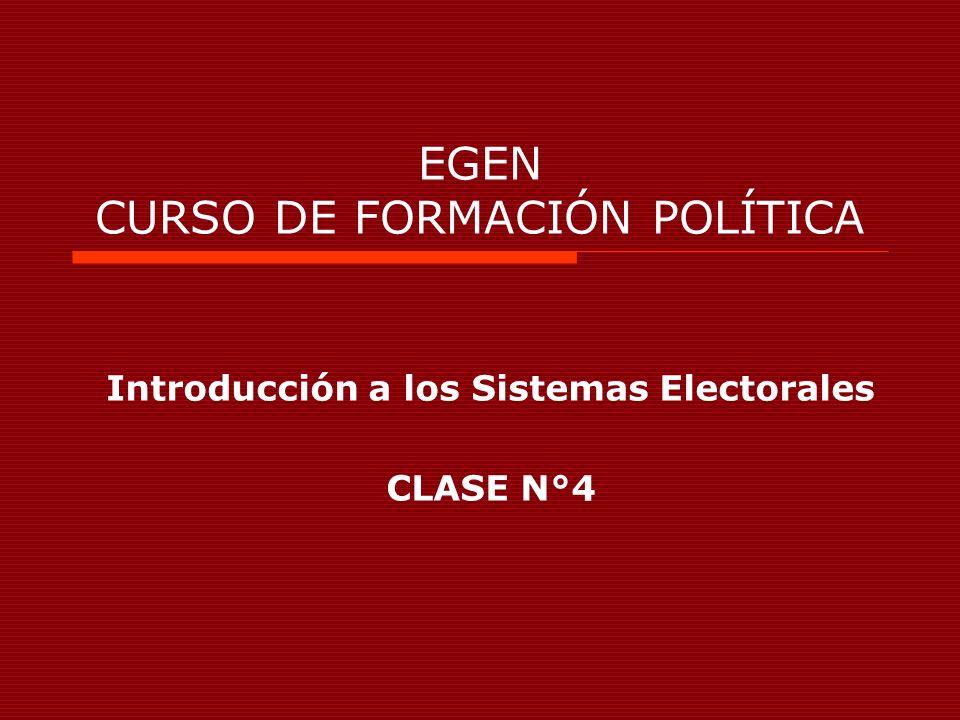 EGEN CURSO DE FORMACIÓN POLÍTICA Introducción a los Sistemas Electorales CLASE N°4