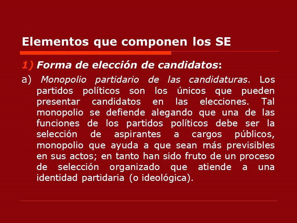 Elementos que componen los SE 1)Forma de elección de candidatos: a) Monopolio partidario de las candidaturas. Los partidos políticos son los únicos qu