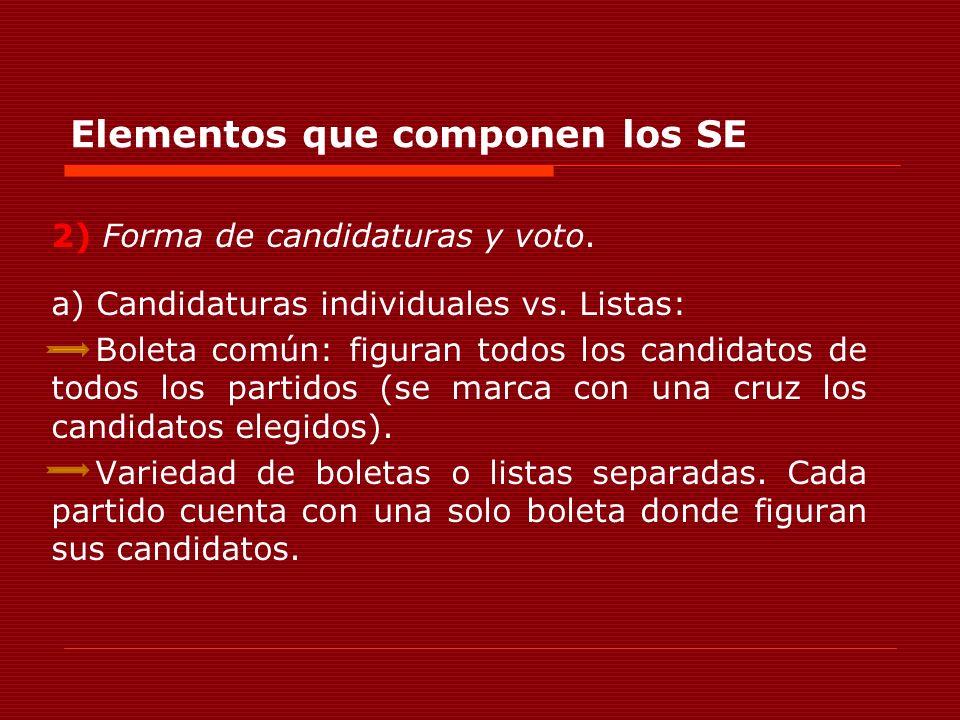 Elementos que componen los SE 2) Forma de candidaturas y voto. a) Candidaturas individuales vs. Listas: Boleta común: figuran todos los candidatos de
