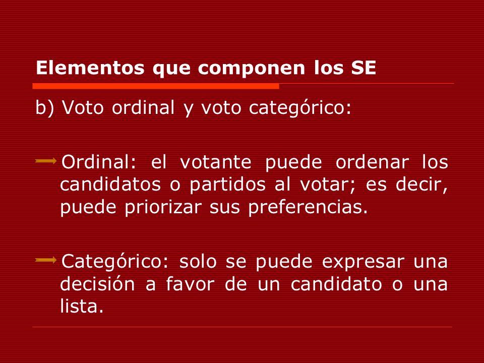Elementos que componen los SE b) Voto ordinal y voto categórico: Ordinal: el votante puede ordenar los candidatos o partidos al votar; es decir, puede