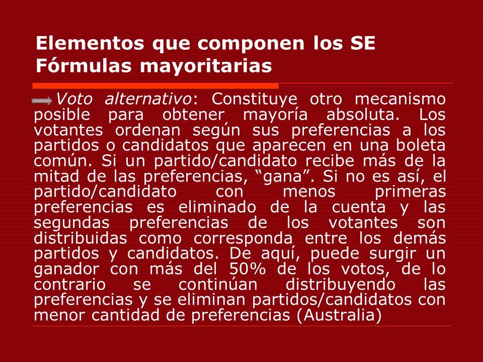 Elementos que componen los SE Fórmulas mayoritarias Voto alternativo: Constituye otro mecanismo posible para obtener mayoría absoluta. Los votantes or