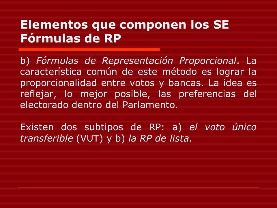 Elementos que componen los SE Fórmulas de RP b) Fórmulas de Representación Proporcional. La característica común de este método es lograr la proporcio
