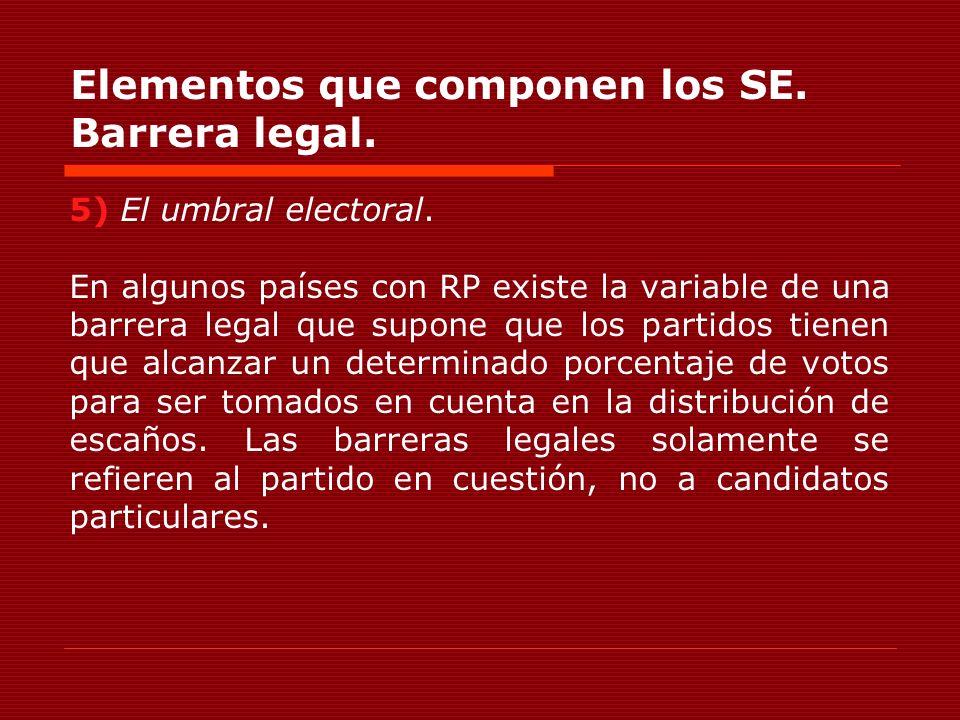 Elementos que componen los SE. Barrera legal. 5) El umbral electoral. En algunos países con RP existe la variable de una barrera legal que supone que