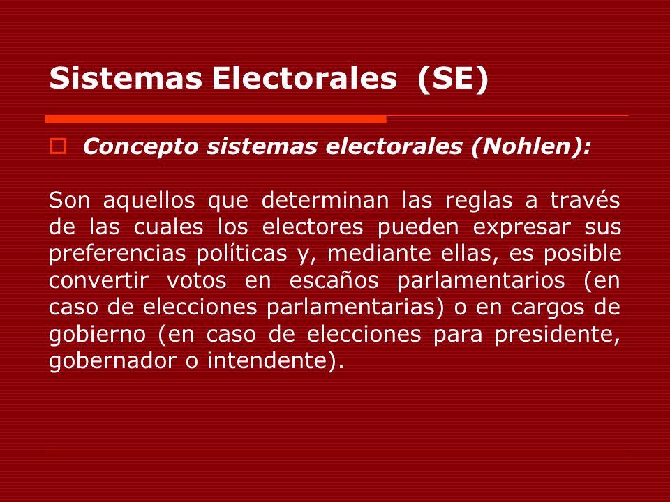 Sistemas Electorales (SE) Concepto sistemas electorales (Nohlen): Son aquellos que determinan las reglas a través de las cuales los electores pueden e