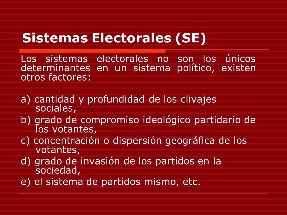 Sistemas Electorales (SE) Los sistemas electorales no son los únicos determinantes en un sistema político, existen otros factores: a) cantidad y profu
