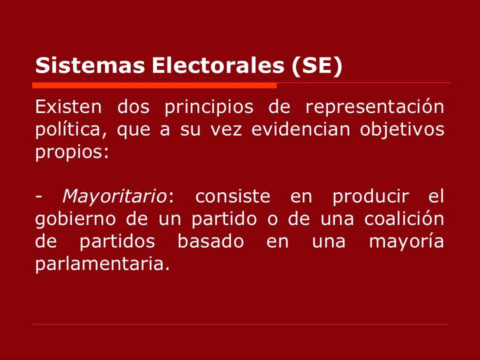 Sistemas Electorales (SE) Existen dos principios de representación política, que a su vez evidencian objetivos propios: - Mayoritario: consiste en pro