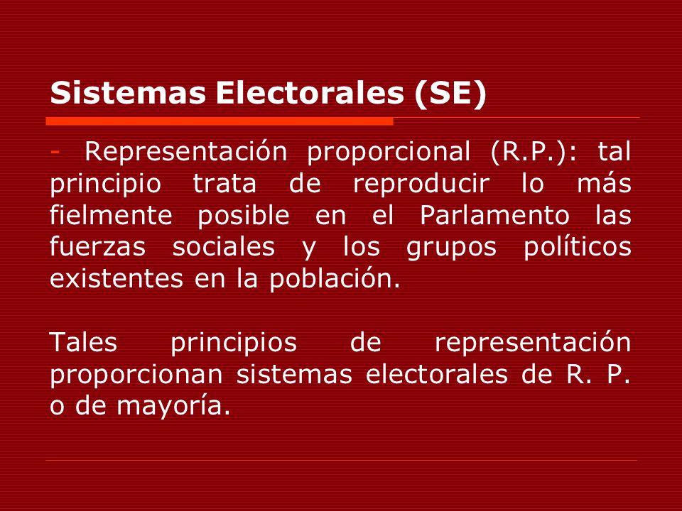 Sistemas Electorales (SE) -Representación proporcional (R.P.): tal principio trata de reproducir lo más fielmente posible en el Parlamento las fuerzas