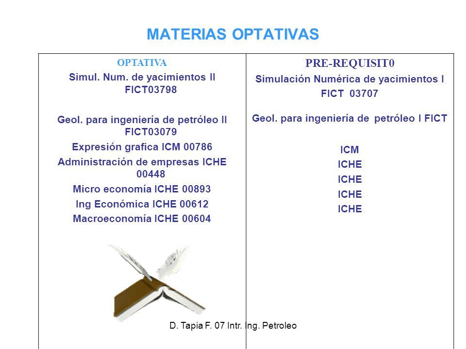 D.Tapia F. 07 Intr. Ing. Petroleo MATERIAS OPTATIVAS OPTATIVA Simul.