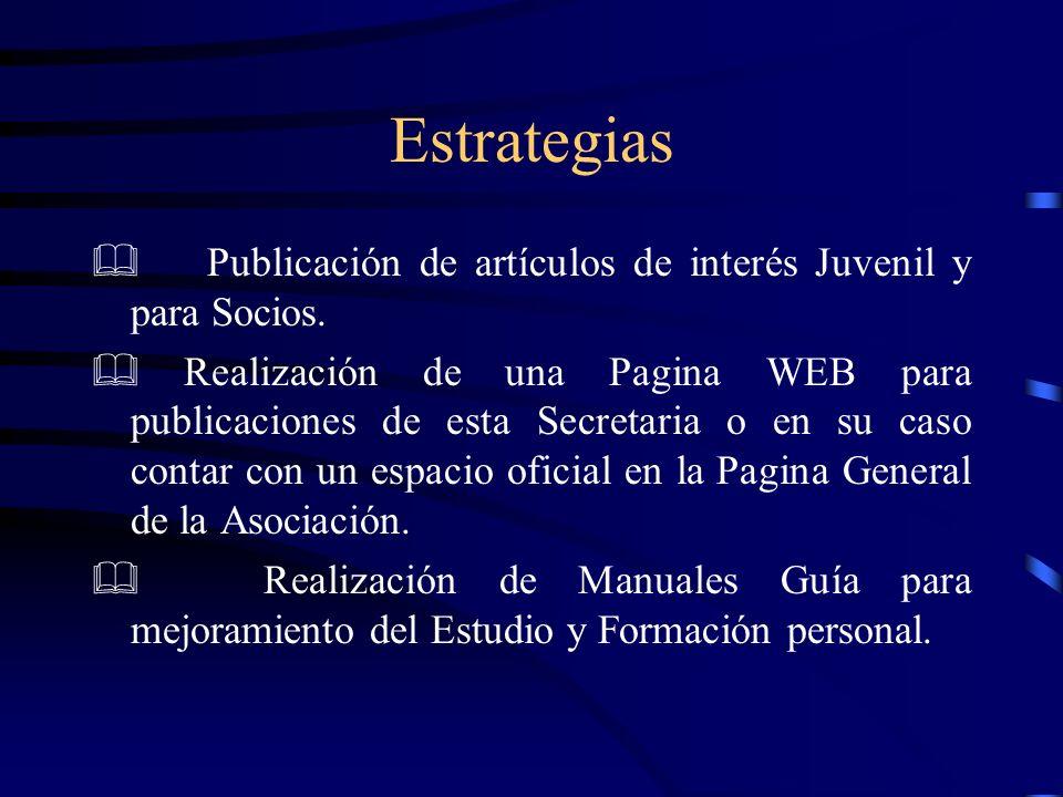 Estrategias Publicación de artículos de interés Juvenil y para Socios.